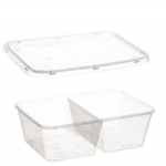 2 Cavity Clear Container & Lid [750ml&1Ltr]
